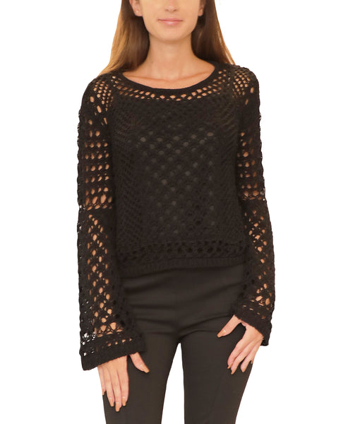 Open Weave Crochet Crop Sweater