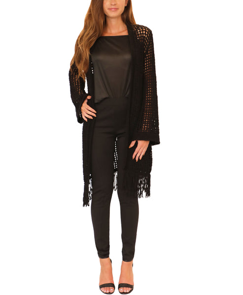 Open Weave Cardigan Sweater w/ Fringe