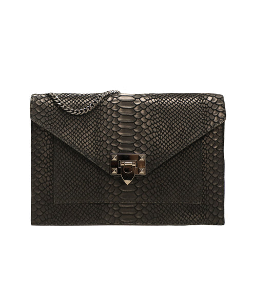 Leather Python Textured Handbag w/ Chain Strap