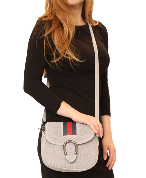 Leather Python Textured Crossbody w/ Stripe