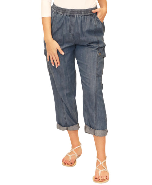 Chambray Cropped Cargo Pants - Fox's