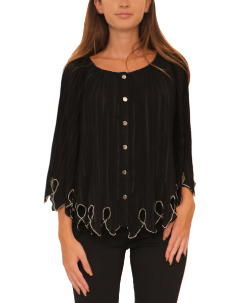 Pleated Cape Blouse w/ Beaded Trim