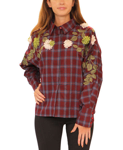 Plaid Top w/ Flowers