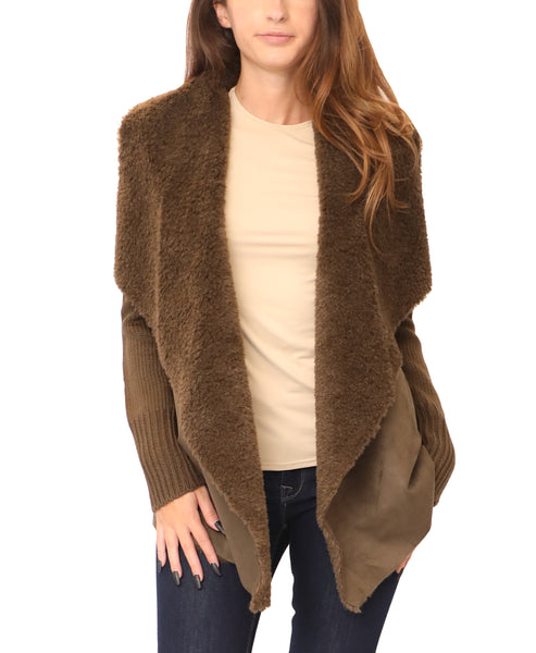Draped Faux-Shearling Sweater Jacket