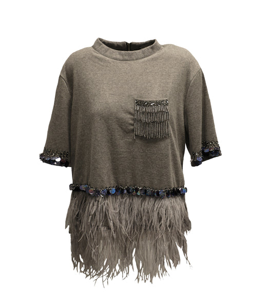 Cashmere Sweater w/ Sequins & Feathers