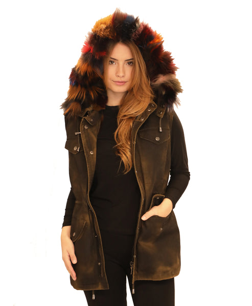 Parka Hooded Vest w/ Rex Rabbit Fur Lined Vest- 2 Vests in 1