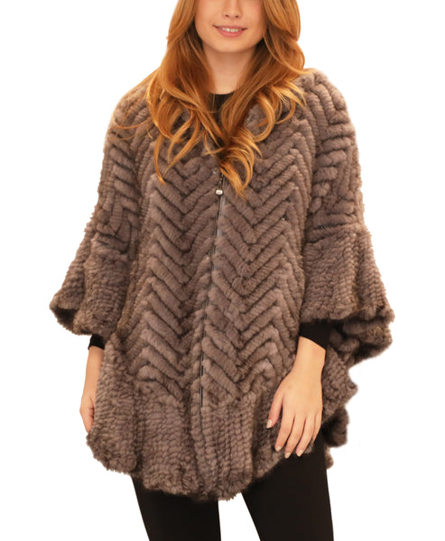 Mink Fur Chevron Hooded Poncho