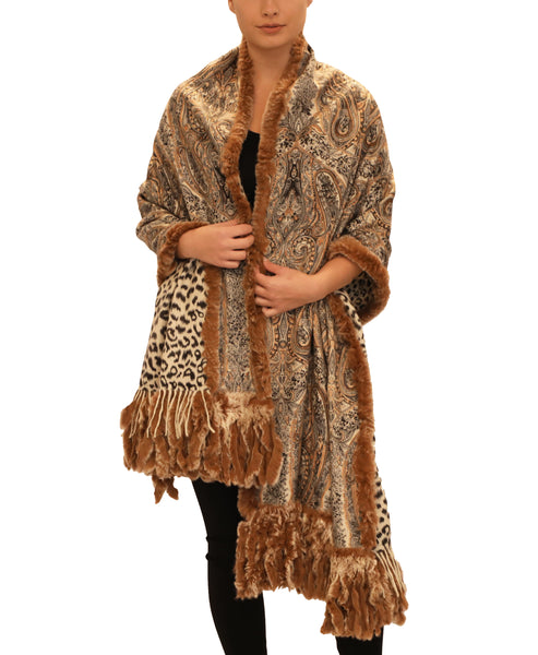 Cashmere Print Shawl w/ Rex Rabbit Fur Trim - Fox's
