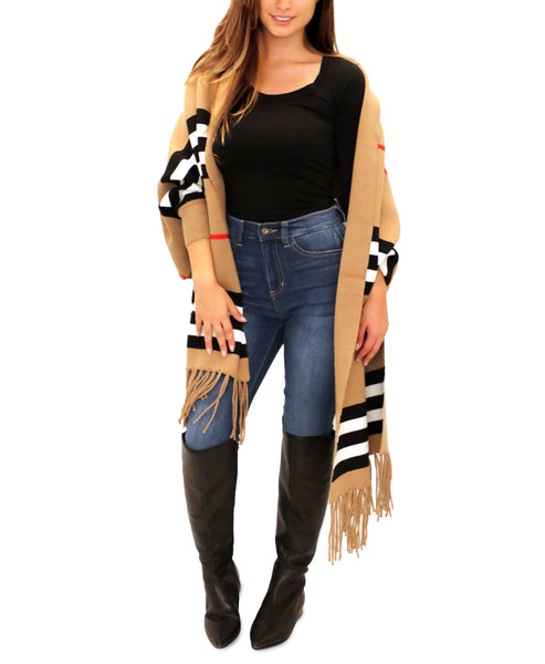 Striped Sweater Wrap w/ Fringe