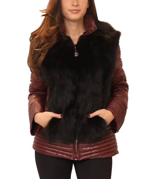 Hooded Down Jacket w/ Fox Fur Trim - Fox's