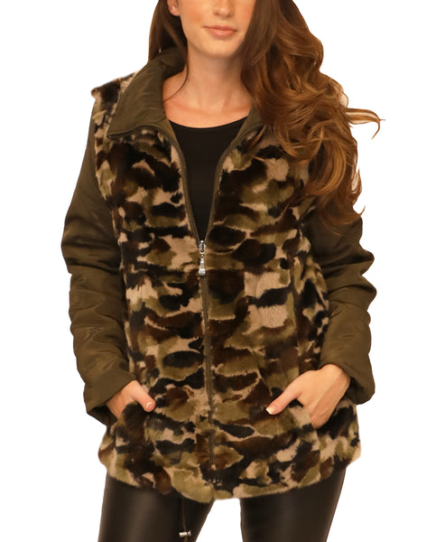 Reversible Microfabric Jacket w/ Camo Print Fur - Fox's