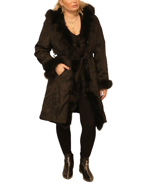 Hooded Fur Lined Coat w/ Fox Fur