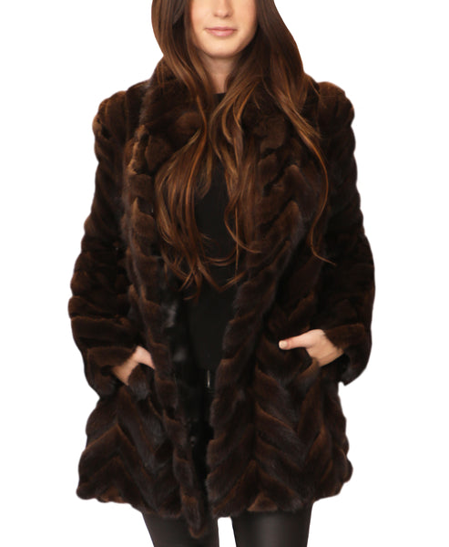 Mink Coat w/ Herringbone Pattern - Fox's