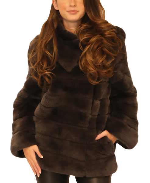 Fur Asymmetrical Zipper Jacket - Fox's
