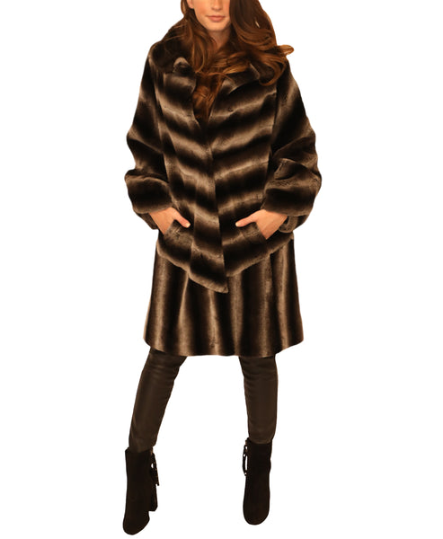 Fur Stroller Coat w/ Mink Collar - Fox's
