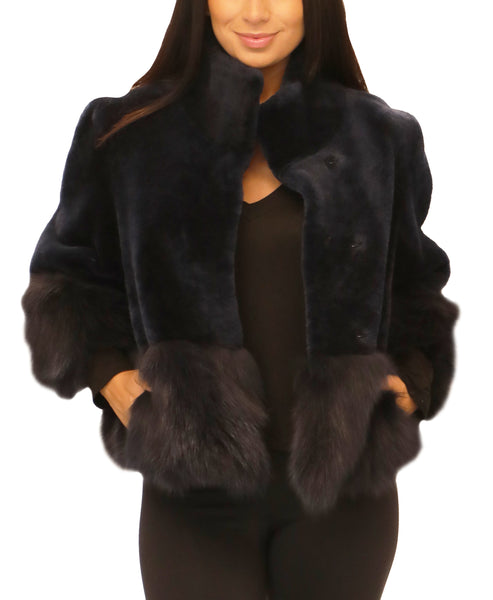 Shearling Bolero Jacket w/ Fox Fur Trim - Fox's