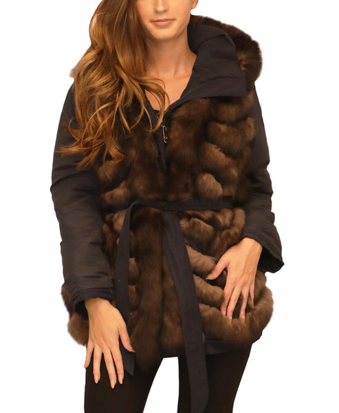 5 in 1 Reversible Jacket w/ Detachable Fox Fur Lining - Fox's