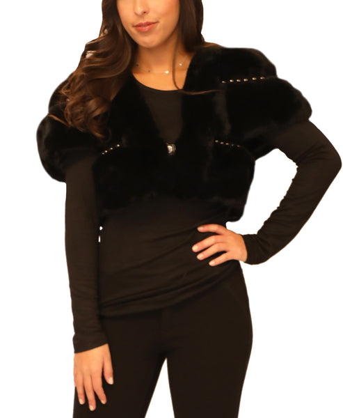Cropped Fur Bolero Jacket w/ Studs - Fox's