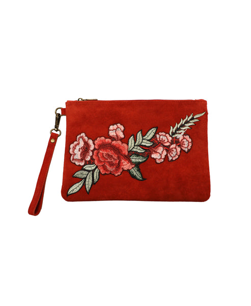 Suede Floral Embroidered Crossbody or Clutch Handbag