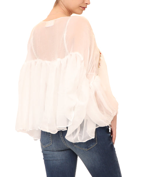 Sheer Blouse w/ Jewel Details