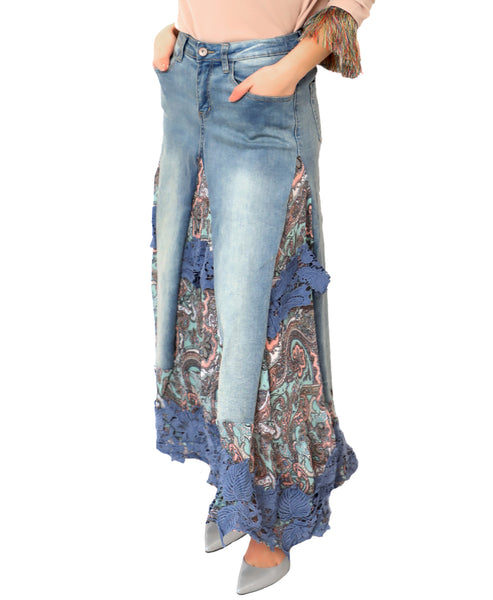 Denim Maxi Skirt w/ Print & Crochet Insets