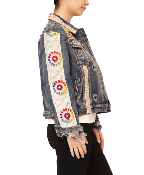 Distressed Denim Jacket w/ Embellished Details