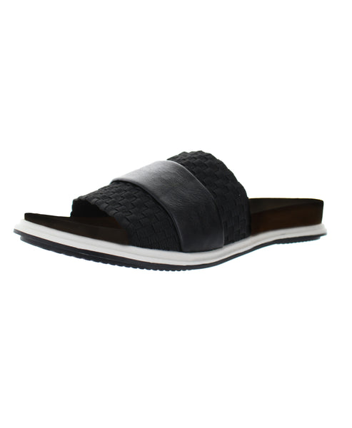 Woven Stretch Slide w/ Leather Accent