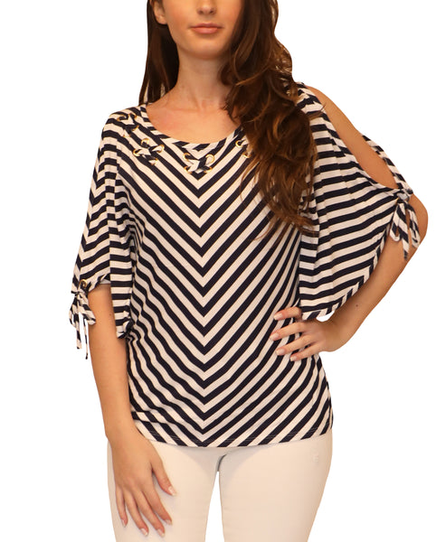 Cold Shoulder Stripe Top w/ Grommets - Fox's