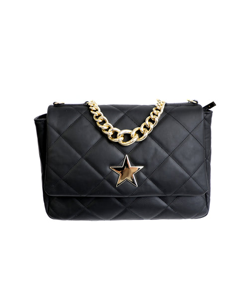 Zoom view for Leather Quilted Bag w/ Star and Chain
