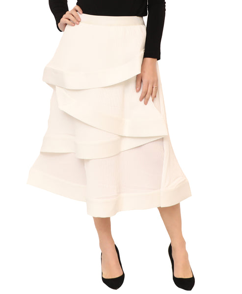 Pleated Skirt w/ Tiered Overlay