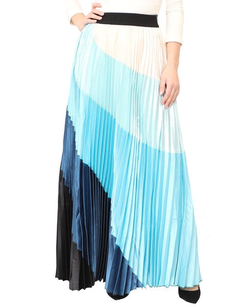 Colorblock Pleated Maxi Skirt