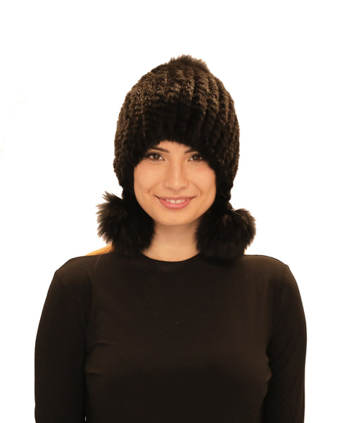 Knitted Mink Fur Hat w/ Fox Fur Pom-Poms