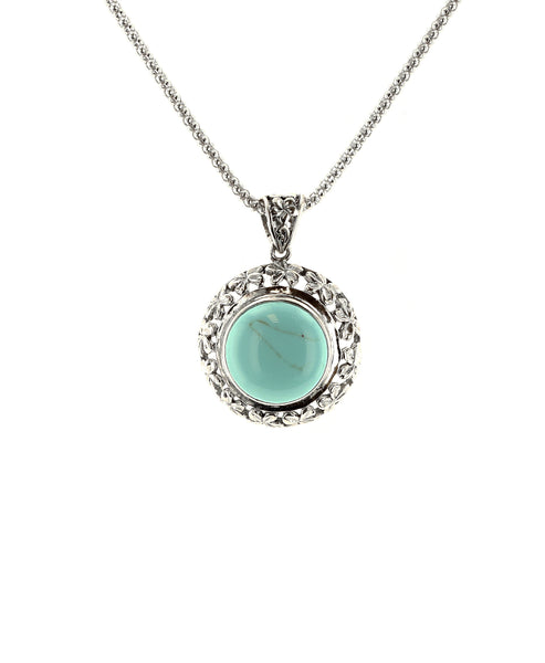 Zoom view for Sterling Silver Round Pendant Necklace w/ Howlite