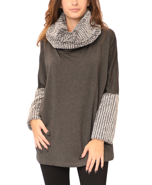 Cowl Neck Tunic Top w/ Faux Fur Trim
