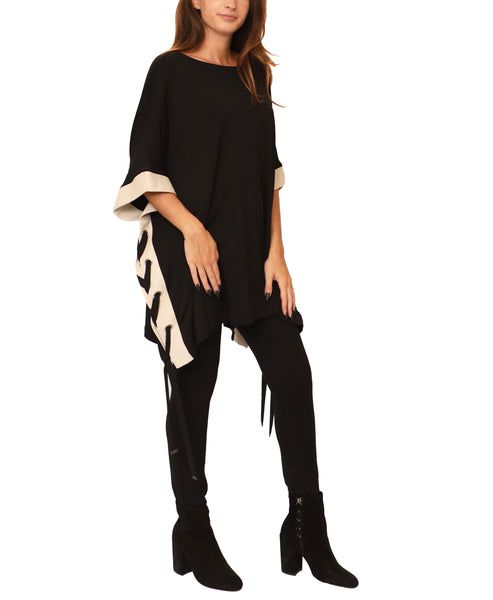 Poncho Top w/ Lace-Up Sides