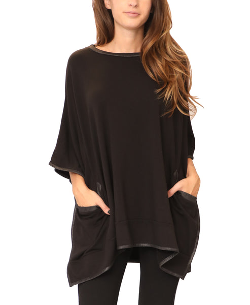 Poncho Top w/ Faux Leather Trim