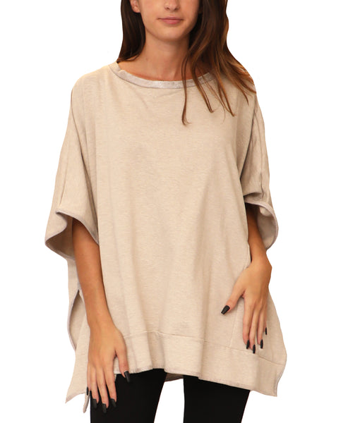 Poncho Top w/ Faux Leather Trim - Fox's