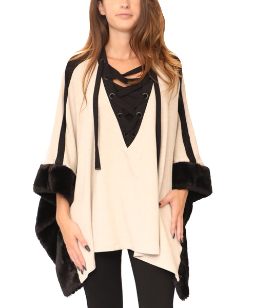Lace-Up Poncho w/ Faux Fur Trim