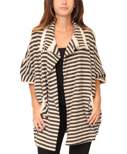 Striped Cocoon Open Front Cardigan