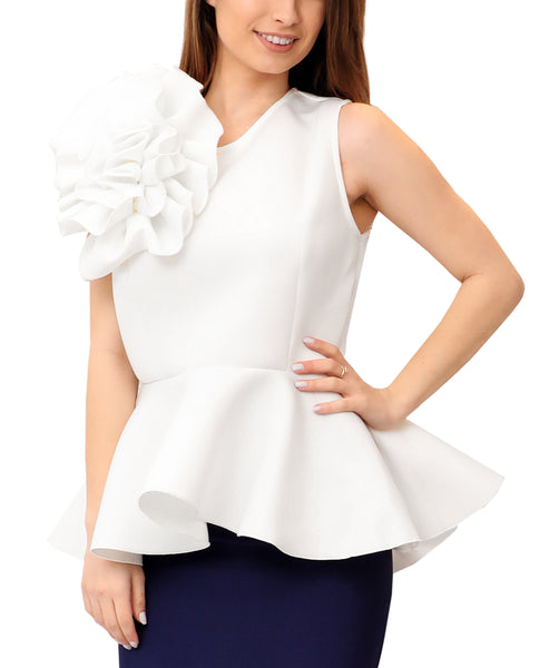 Scuba Peplum Top w/ Flower