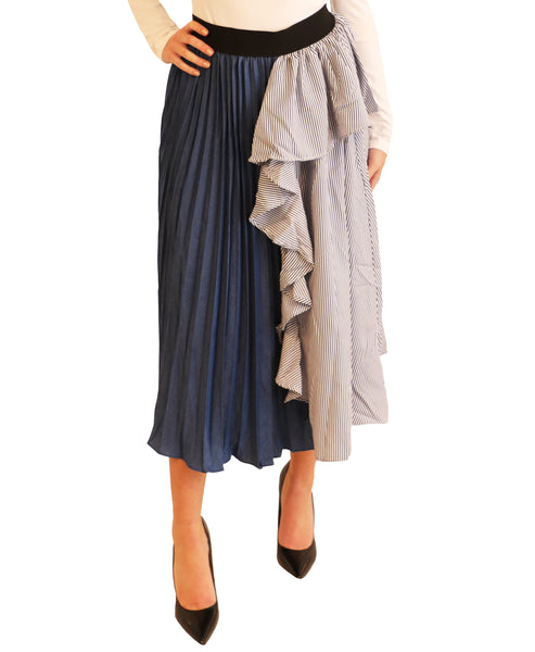 Zoom view for Pleated Striped Midi Skirt