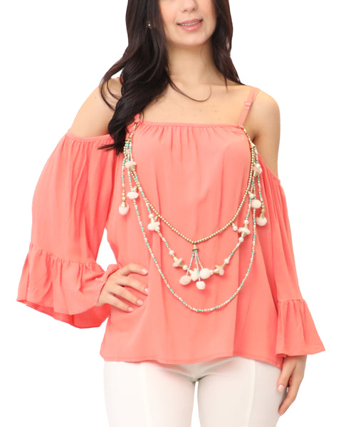 Cold Shoulder Blouse w/ Beaded Accents
