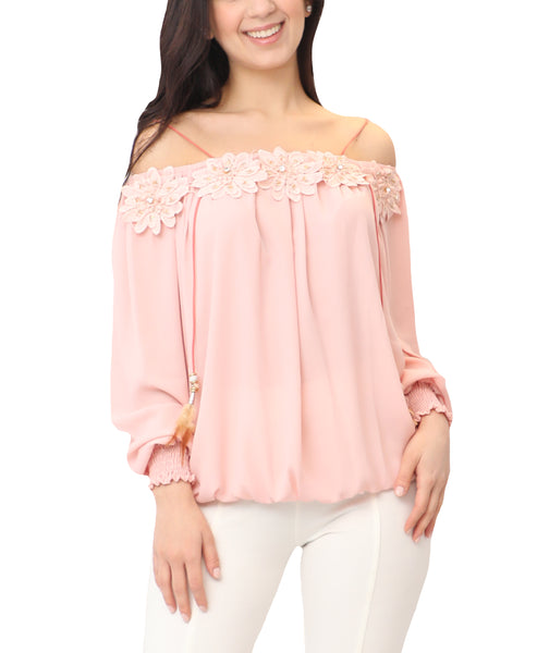 Off The Shoulder Blouse w/ Flower Accents