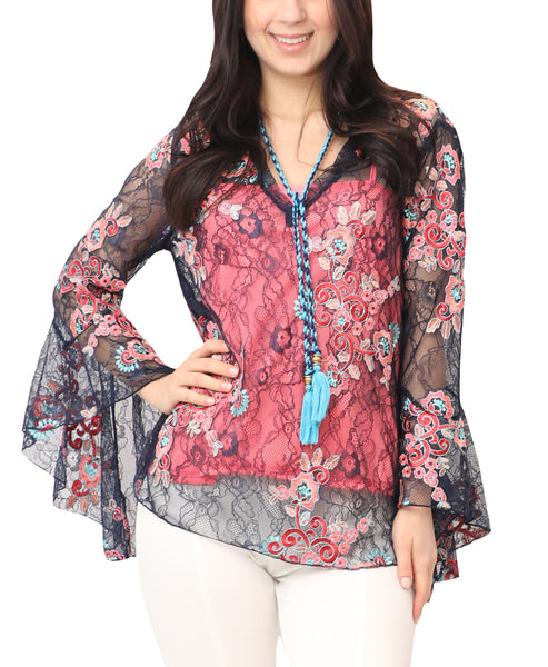 Lace Blouse w/ Embroidered Flowers - 2 Pc. Set