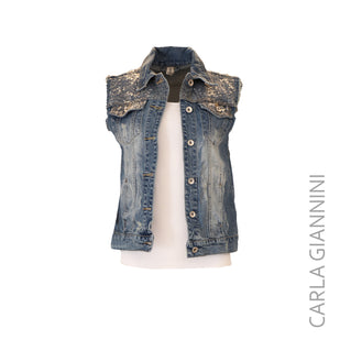 Distressed Denim Sequin Vest