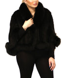 Knitted Mink Cape w/ Fox Trim