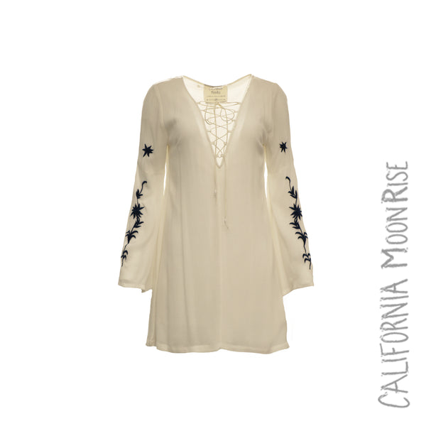 Lace-Up Tunic w/ Embroidered Sleeve