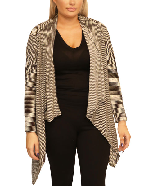 """Curve Fit"" Super Soft Striped Waterfall Cardigan"