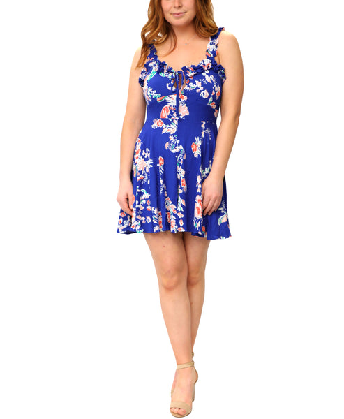 Zoom view for Floral Print Fit and Flare Mini Dress