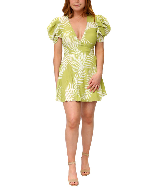 Zoom view for Palm Print Mini Wrap Dress